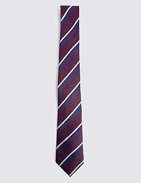 Pure Silk Striped Tie, BURGUNDY MIX, catlanding