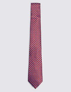Pure Silk Elephant Print Tie, , catlanding
