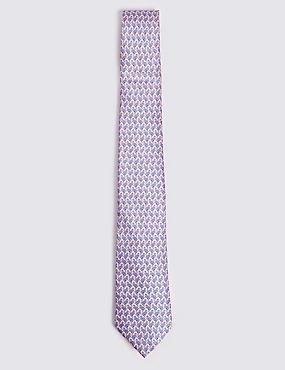 Pure Silk Flamingo Print Tie, , catlanding