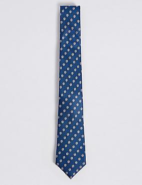 Pure Silk Spot Tie, BLUE MIX, catlanding