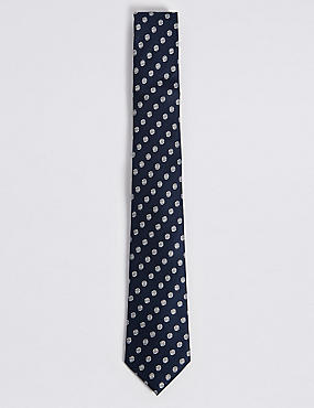 Pure Silk Spot Tie, NAVY MIX, catlanding