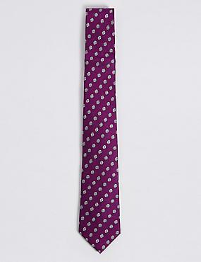 Pure Silk Spot Tie, MAGENTA MIX, catlanding