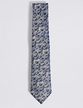 Pure Silk Floral Tie, NAVY MIX, catlanding