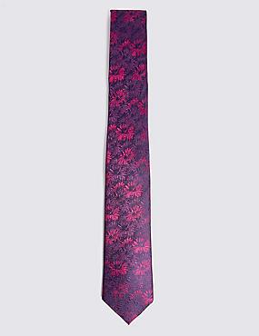 Pure Silk Floral Tie, MAGENTA MIX, catlanding