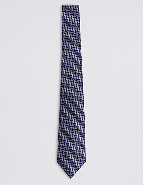 Pure Silk Lattice Tie, NAVY MIX, catlanding