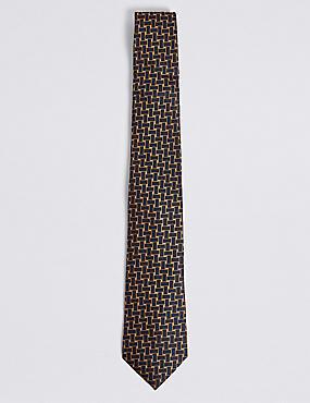 Pure Silk Lattice Tie, GOLD MIX, catlanding