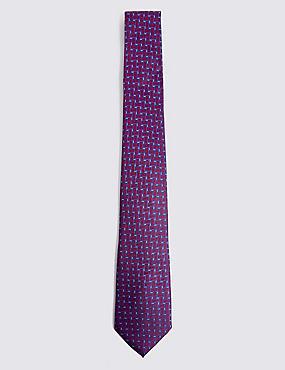 Pure Silk Lattice Tie, MAGENTA MIX, catlanding