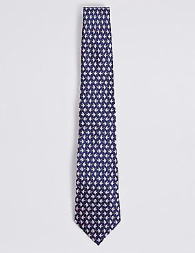 Pure Silk Flat Fish Tie , NAVY MIX, catlanding