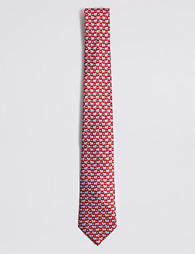 Pure Silk Elephant Print Tie, RED MIX, catlanding