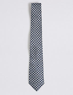 Pure Silk Elephant Print Tie, NAVY MIX, catlanding