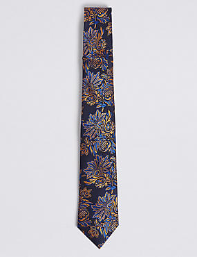 Pure Silk Floral Tie, GOLD MIX, catlanding