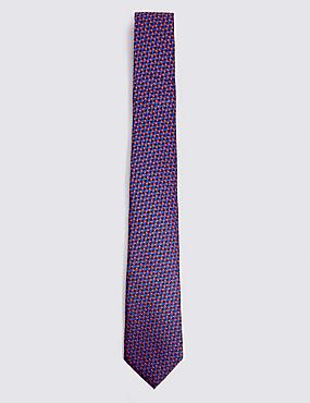 Pure Silk Geometric Tie, ORANGE MIX, catlanding