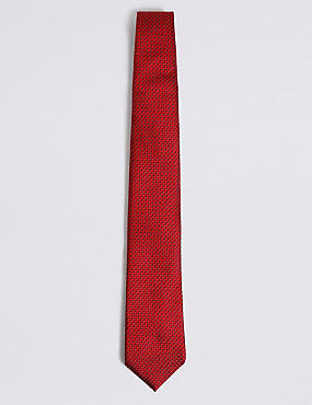 Pure Silk Micro Spotted Tie, RED, catlanding