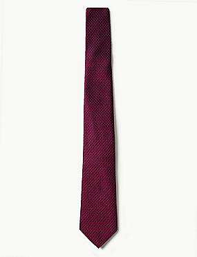 Pure Silk Micro Spot Tie, CERISE, catlanding