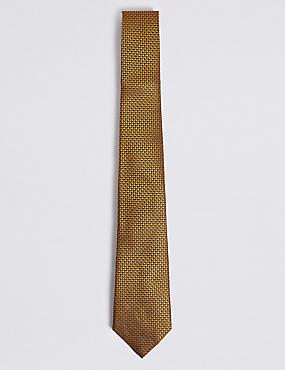 Pure Silk Micro Spot Tie, GOLD MIX, catlanding