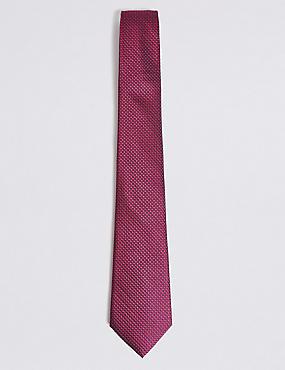 Pure Silk Spotted Tie, MAGENTA, catlanding