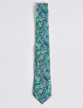Pure Silk Tropical Leaf Print Tie, JADE MIX, catlanding