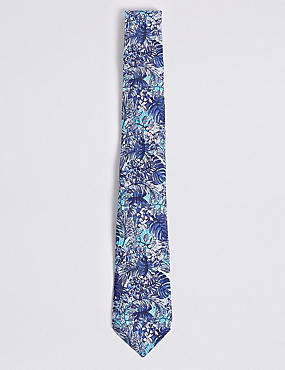Pure Silk Tropical Leaf Print Tie, BLUE MIX, catlanding
