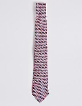 Pure Silk Parrot Print Tie, CORAL MIX, catlanding