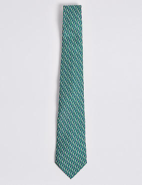 Pure Silk Parrot Print Tie, JADE MIX, catlanding