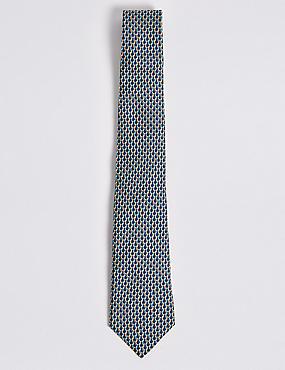 Pure Silk Parrot Print Tie, YELLOW MIX, catlanding