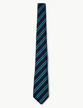 Pure Silk Made in Italy Striped Tie, TURQUOISE MIX, catlanding