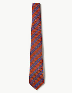 Pure Silk Made in Italy Striped Tie, ORANGE, catlanding