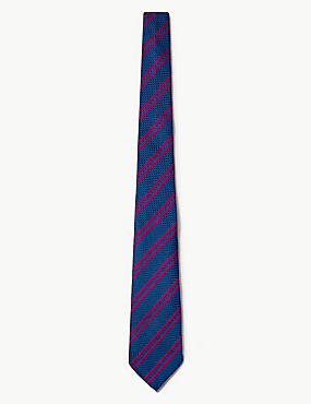 Pure Silk Made in Italy Striped Tie, MAGENTA MIX, catlanding