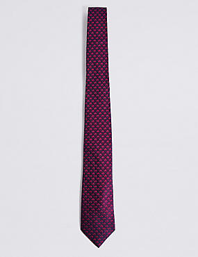Pure Silk Mini Flamingo Tie, MAGENTA, catlanding