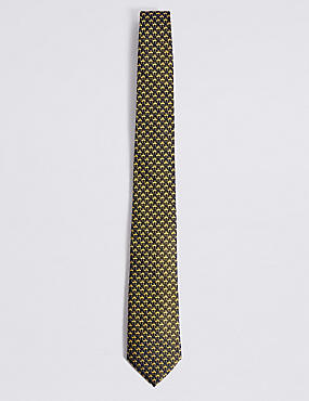 Pure Silk Mini Flamingo Tie, GOLD MIX, catlanding