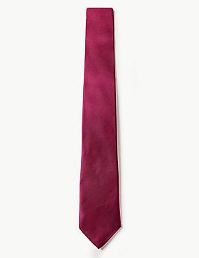 Pure Silk Satin Twill Tie, CERISE, catlanding