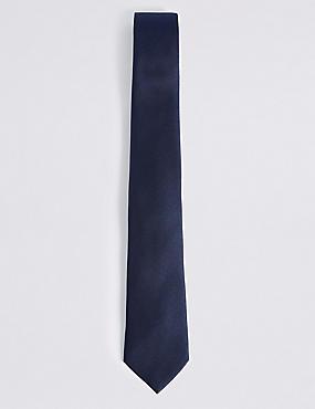 Pure Silk Satin Twill Tie, NAVY, catlanding
