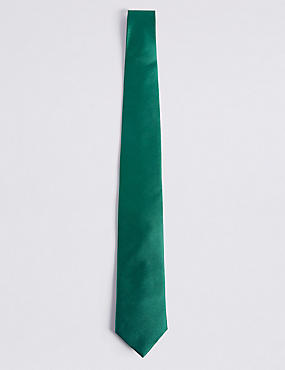 Pure Silk Satin Twill Tie, GREEN, catlanding