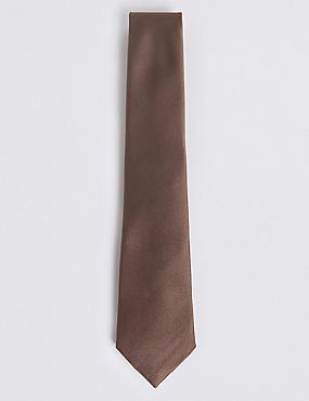 Pure Silk Satin Twill Tie, MOCHA, catlanding