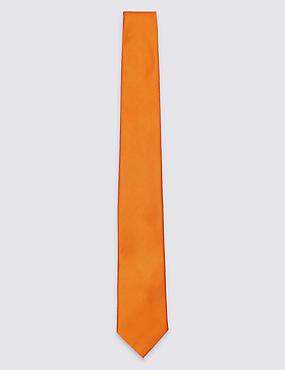Pure Silk Satin Twill Tie, ORANGE, catlanding
