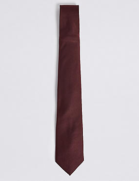 Pure Silk Satin Twill Tie, BURGUNDY, catlanding