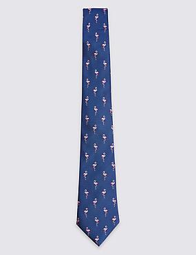 Pure Silk Flamingo Tie, COBALT, catlanding