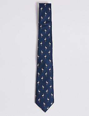 Pure Silk Flamingo Tie, NAVY MIX, catlanding