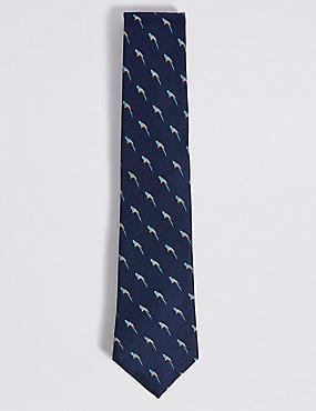 Pure Silk Novelty Tie, NAVY MIX, catlanding