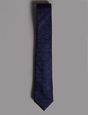 Pure Silk Foulard Tie MADE WITH SWAROVSKI® ELEMENTS, NAVY MIX, catlanding