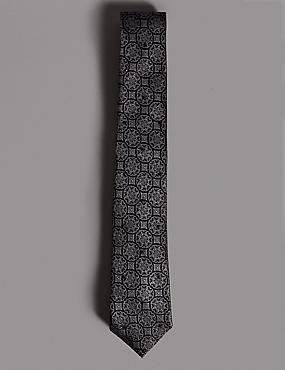 Pure Silk Foulard Tie MADE WITH SWAROVSKI® ELEMENTS, GREY MIX, catlanding