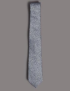 Pure Silk Textured Tie, SILVER MIX, catlanding