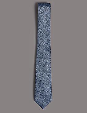 Pure Silk Textured Tie, BLUE MIX, catlanding