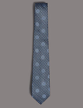 Pure Silk Spotted Tie, BLUE MIX, catlanding