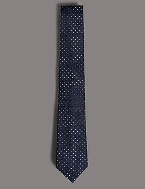Pure Silk Spotted Tie, NAVY MIX, catlanding
