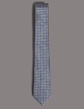 Pure Silk Geometric Tie, BLUE MIX, catlanding
