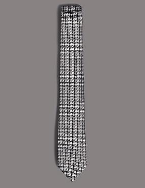 Pure Silk Geometric Tie, BEIGE MIX, catlanding