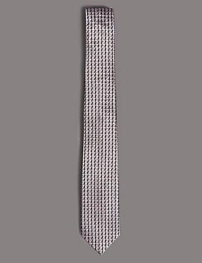 Pure Silk Geometric Tie, PALE PINK MIX, catlanding