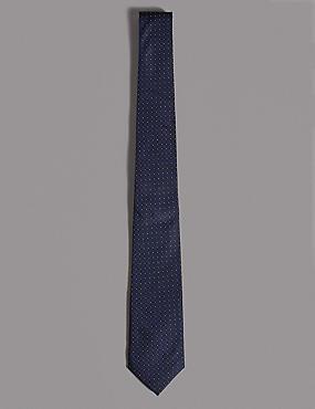 Pure Silk Micro Spot Tie, NAVY, catlanding