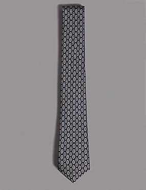 Pure Silk Foulard Tie, SLATE BLUE, catlanding